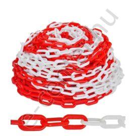 Műanyag lánc piros-fehér 50 m-es kiszerelés